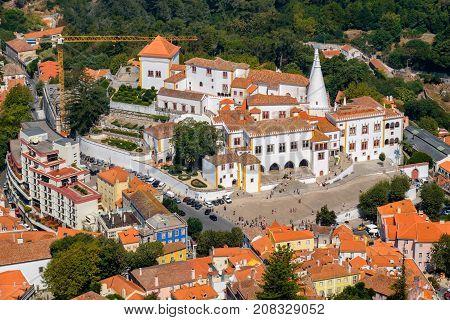 The Palace of Sintra (Palacio Nacional de Sintra) former summer royal residence. Sintra Portugal