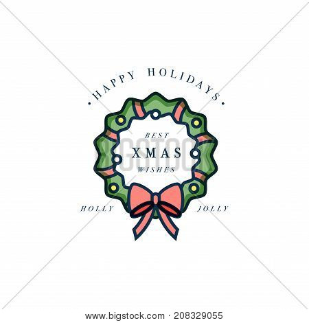 Lovely Merry Xmas concept flat design with green wreath decorated with red ribbon and golden globes. Typical Advent or Christmas household ornament design element with sample text on white background