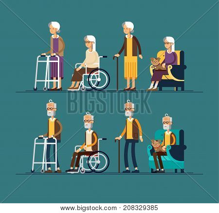 Set of elderly persons. Grandfathers and granfathers in a wheelchair and with walking stick and paddle walker. Vector illustration in a flat style. Elderly disabled people