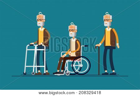 Set of elderly persons. Grandfather in a wheelchair and with walking stick and paddle walker. Vector illustration in a flat style. Elderly disabled men