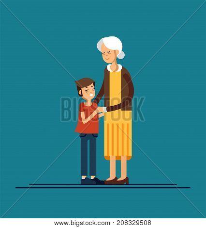 Grandson hugging his grandmother. Vector illustration of a flat design
