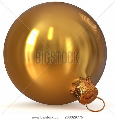 3d rendering golden Christmas ball decoration closeup New Year's Eve hanging bauble adornment traditional Merry Xmas wintertime ornament yellow shiny polished. illustration