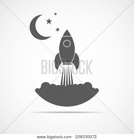 Gray rocket icon in flat design. Simple rocket icon isolated on light background. Vector illustration.
