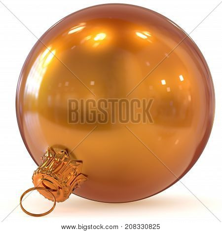 3d rendering Christmas ball golden orange decoration New Year's Eve hanging bauble adornment traditional Happy Merry Xmas wintertime ornament shiny closeup