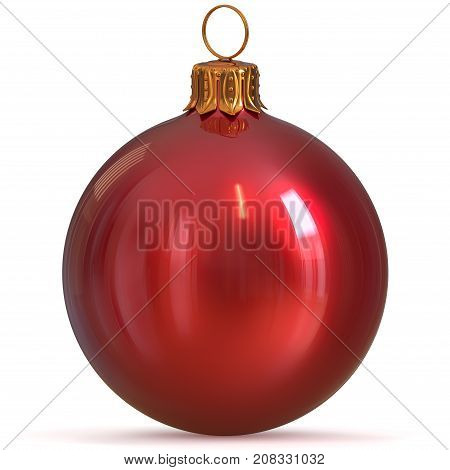 3d rendering Christmas ball red decoration bauble closeup New Year's Eve hanging adornment traditional Happy Merry Xmas wintertime ornament polished