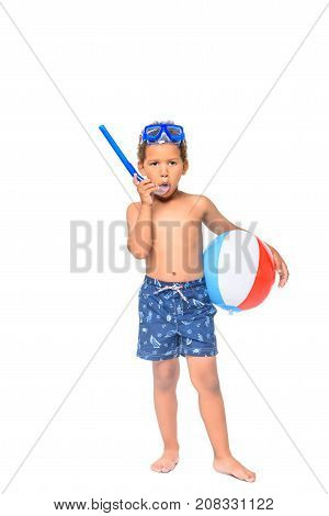 African American Boy With Diving Mask