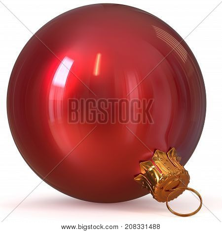 3d rendering red Christmas ball decoration New Year's Eve hanging bauble adornment traditional Happy Merry Xmas wintertime ornament polished closeup
