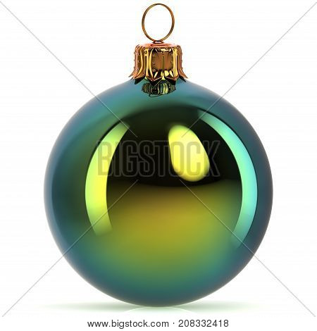 3d rendering Christmas ball decoration green New Year's Eve hanging bauble adornment traditional Happy Merry Xmas wintertime ornament polished closeup