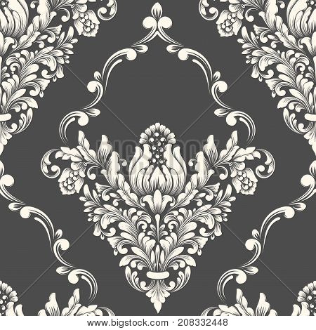 Vector damask seamless pattern element. Classical luxury old fashioned damask ornament, royal victorian seamless texture for wallpapers, textile, wrapping. Exquisite floral baroque template