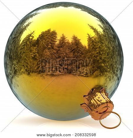 3d rendering Christmas ball golden decoration closeup New Year's Eve hanging bauble adornment polished traditional Happy Merry Xmas wintertime ornament
