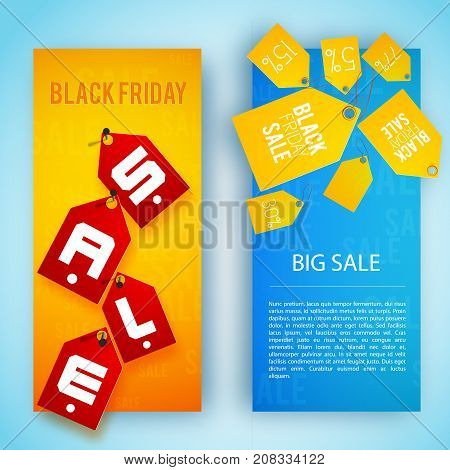 Two multicolored isolated sale banner set with yellow and red tags on banners vector illustration