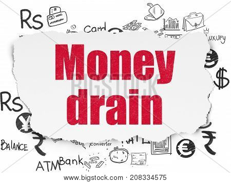 Money concept: Painted red text Money Drain on Torn Paper background with  Hand Drawn Finance Icons