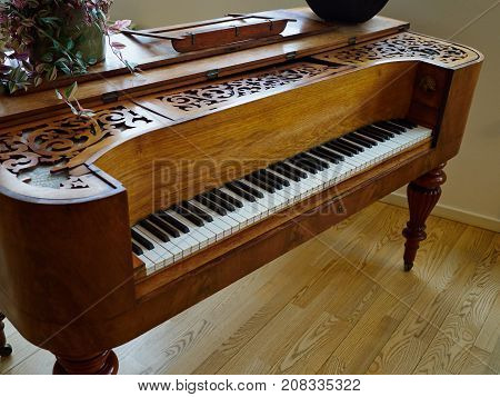Traditional vintage crafted old piano made by hand