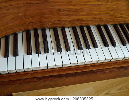 Details of traditional vintage crafted old piano made by hand