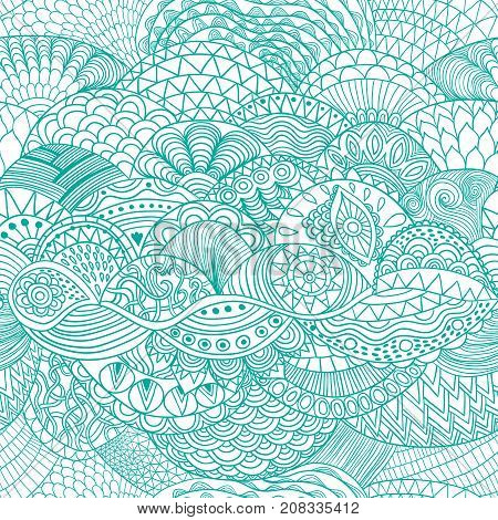 Vector pattern abstract background with colorful ornament. Hand draw illustration, coloring book zentangle. Algae sea motif.