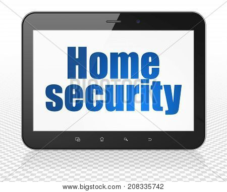 Privacy concept: Tablet Pc Computer with blue text Home Security on display, 3D rendering