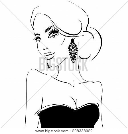 Vector girl. Cute and elegant woman. Young lady. Black and white illustration. Beautiful face. Portrait of beauty model in sketch style.