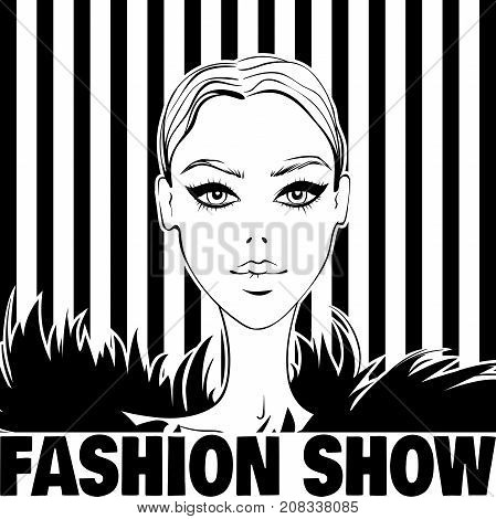 Vector fashion illustration.Beautiful model portrait.Fashionable girl.Woman face.Graphic in vogue style.Female beauty person.Young and stylish girl.Fashion show card.Trendy graphic in sketch style