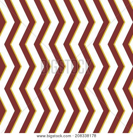 Seamless background with brown and golden zigzag for your designs. Modern vector ornament. Geometric abstract pattern