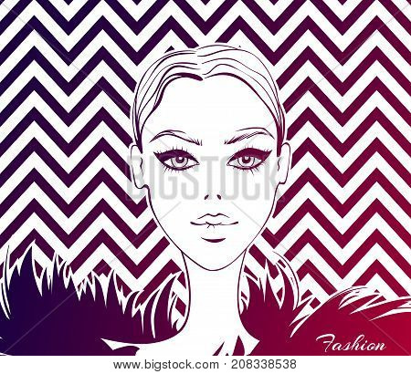 Fashion model portrait. Vector fashion illustration with young girl. Beautiful face. Cute girl. Fashionable graphic in vogue style.