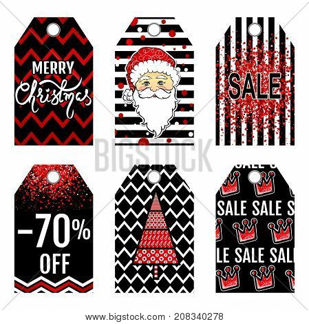 Collection tag of Christmas sale. Set labels with Merry Christmas lettering, Santa Claus and other Happy New Year attributes. Cute gift tags, banner, label, sale card. Holiday stickers design.