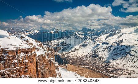 Breathtaking View From Sass Pordoi Peak, Dolomites, Italy, Europe