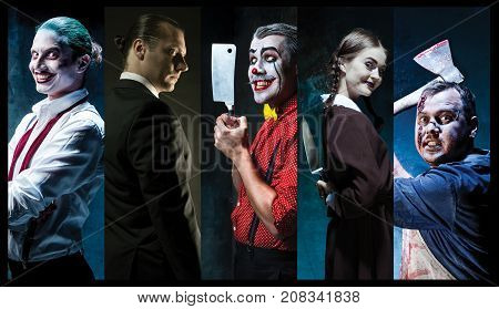 The crazy clown holding a knife on dack. Halloween concept of horror and murderer. collage