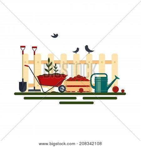 Concept of gardening. Farm tools flat-vector illustration. Garden instruments icon collection, shovel, rake, wheelbarrow, plant, watering can isolated on white background. Farming equipment.