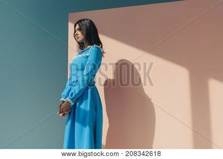 Woman In Fashionable Turquoise Dress