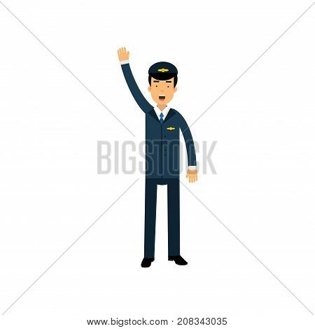 Airline pilot in blue uniform standing standing with open mouth and gesturing, aircraft captain vector Illustration on a white background