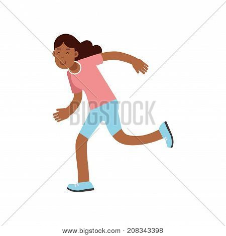 Active teen girl running, active lifestyle vector Illustration on a white background