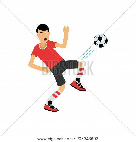 Active teen boy kicking a soccer ball, boy doing sport, active lifestyle vector Illustration on a white background