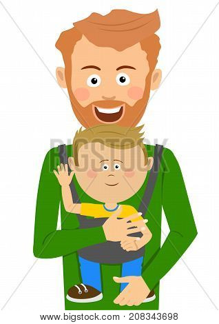 Young father holding his son in baby carrier on white