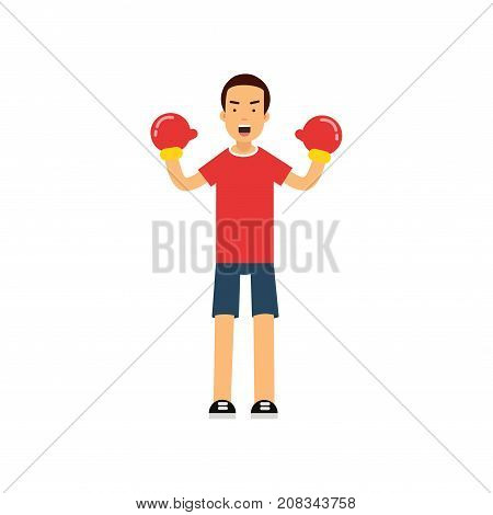 Active teen boy in boxing gloves, boy doing sport, active lifestyle vector Illustration on a white background