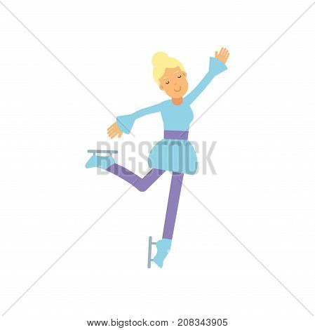 Teen girl in blue dress on ice skating, sport figure skating, active lifestyle vector Illustration on a white background