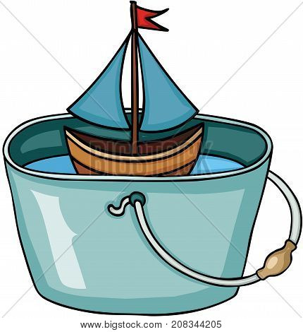 Scalable vectorial image representing a little boat in bucket full of water, isolated on white.