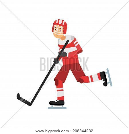 Active teen boy playing hockey, ice hockey player, active lifestyle vector Illustration on a white background