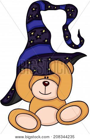 Scalable vectorial image representing a teddy bear putting on a witch hat, isolated on white.
