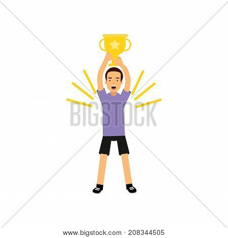 Sport athletic teen boy on with trophy gold cup vector Illustration on a white background