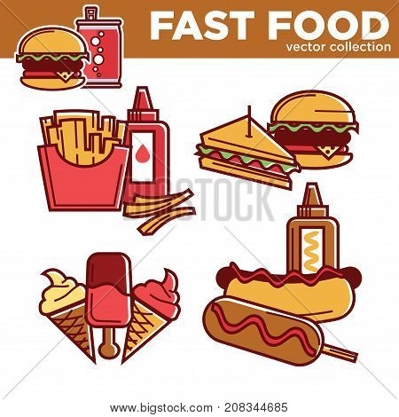 Fast food meals and snacks icons set. Cheeseburger or hamburger burger and hot dog sandwich, french fries, pizza and ice cream dessert. Vector fastfood menu set