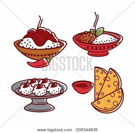 Indian cuisine food and traditional dishes of chicken tandoori grill, curry rice pilaf vegetables or meat samosa, masala soup and flatbread and saffron dessert. Vector flat icons set for India restaurant menu