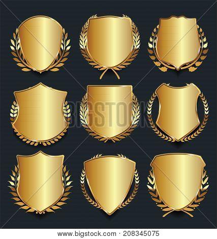 Golden Shield Retro Design Vector Illustration Collection 3.eps
