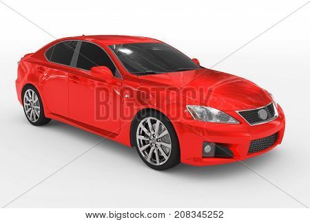 Car Isolated On White - Red Paint, Tinted Glass - Front-right Side View