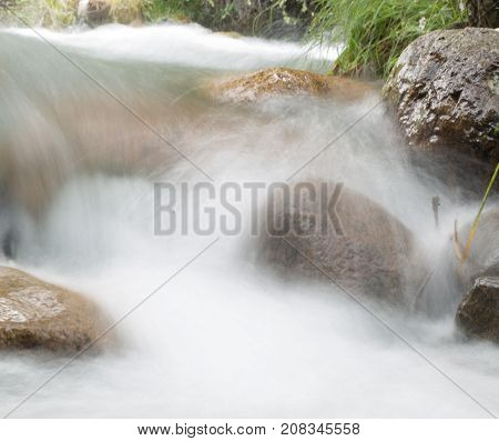 beautiful river in the mountains . In the park in nature