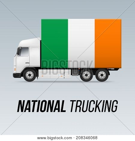 Symbol of National Delivery Truck with Flag of Ireland. National Trucking Icon and Irish flag