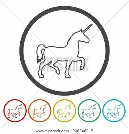 Silhouette of Unicorn Horse icon, simple vector icon