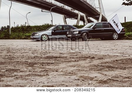 Saint-Petersburg Russia - September 30 2017: Old legendary car of premium class Mercedes-Benz sedan at meeting of fans of German manufacturer. Headquarters of Mercedes is in Stuttgart Germany