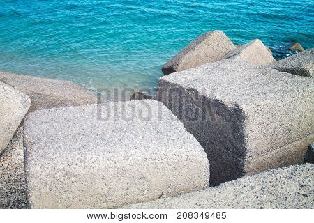 Breakwater on the sea seen from above