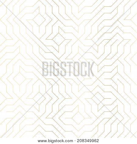 Seamless Vector Geometric Golden Line Pattern. Abstract Background With Gold Texture On White. Simpl