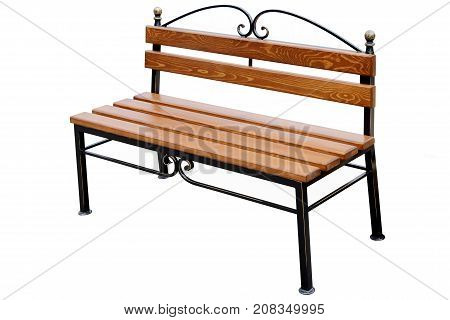 Brown wooden bench isolated on white background.